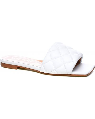 Кожаные шлепанцы - белые Lottini