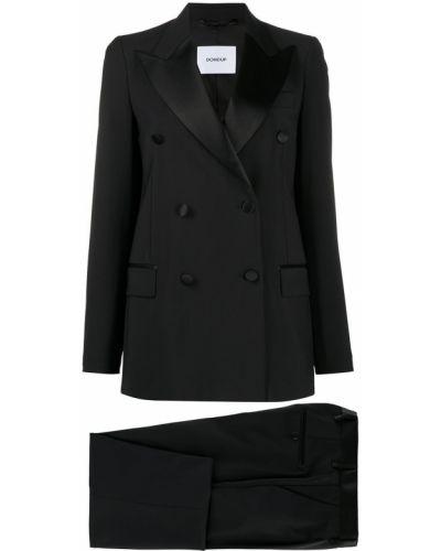 Черный костюмный брючный костюм с карманами двубортный Dondup