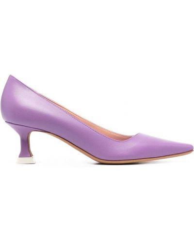 Фиолетовые кожаные туфли-лодочки на каблуке Roberto Festa