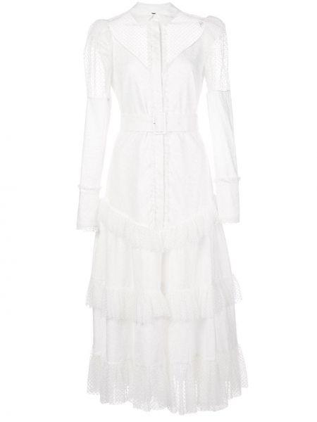 Платье миди классическое с оборками Alexis