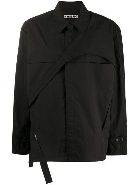 Черная асимметричная рубашка с воротником на пуговицах Hyein Seo