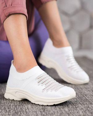 Białe sneakersy oversize materiałowe Mckeylor