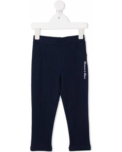 Ватные хлопковые синие леггинсы с вышивкой Harmont & Blaine Junior