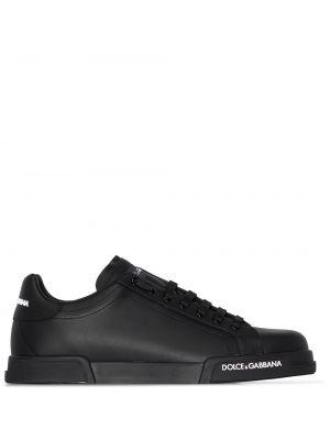 Кожаные черные кеды на шнуровке Dolce & Gabbana