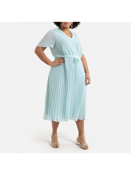 Платье мини с прозрачными рукавами с V-образным вырезом La Redoute