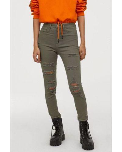Зеленые джинсы-скинни с высокой посадкой с карманами H&m