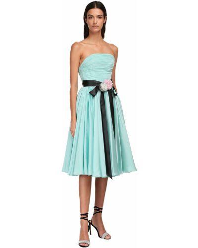 Satynowa sukienka midi z falbanami z paskiem Alexandre Vauthier