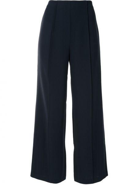Синие расклешенные укороченные брюки с высокой посадкой Cinq À Sept