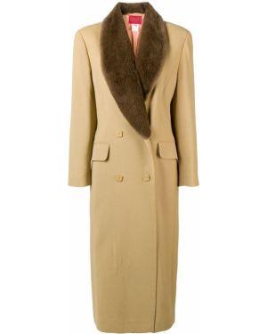 Шерстяное длинное пальто с капюшоном на пуговицах Kenzo Pre-owned