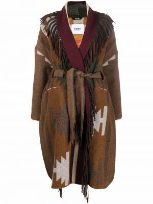 Пальто с поясом - коричневое Bazar Deluxe