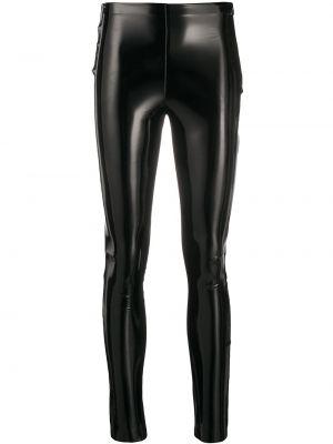 Лаковые черные брюки узкого кроя на молнии Karl Lagerfeld