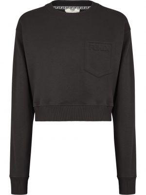 Czarna bluza z długimi rękawami bawełniana Fendi