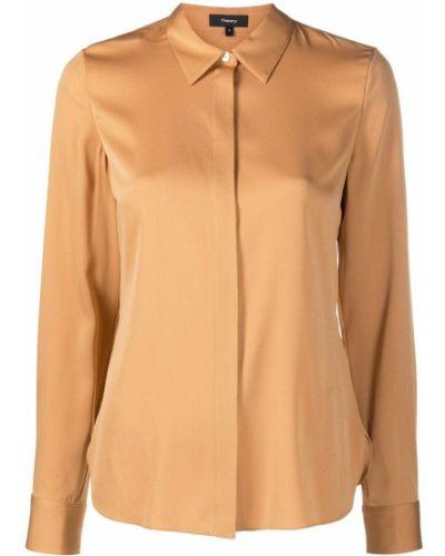 Шелковая классическая рубашка с длинными рукавами с воротником Theory