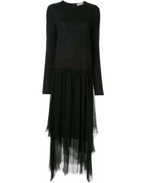 Песочное приталенное драповое асимметричное платье макси Aleksandr Manamïs