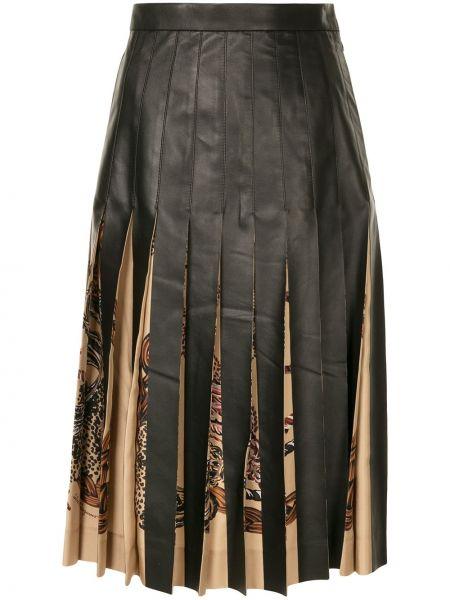 Czarna spódnica ołówkowa skórzana z printem Salvatore Ferragamo