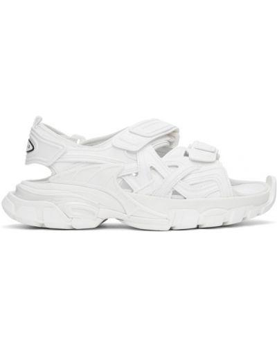 Белые кожаные сандалии на липучках Balenciaga