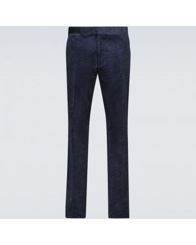 Синие брюки вельветовые с манжетами Ralph Lauren Purple Label