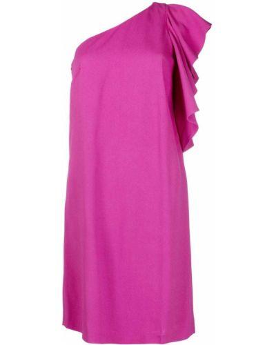 Прямое розовое платье миди с оборками Lautre Chose