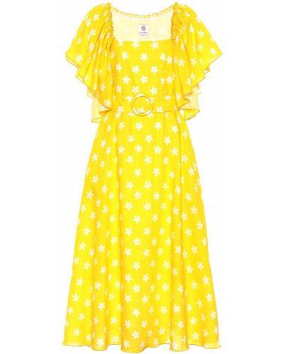 Желтое льняное платье миди Gül Hürgel