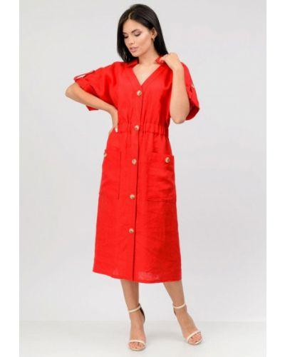 Красное платье осеннее Raslov