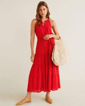 Платье с поясом с американской проймой из вискозы Mango