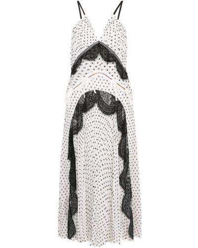 Платье миди в горошек с V-образным вырезом Self-portrait