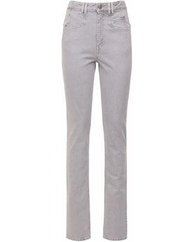 Bawełna niebieski jeansy o prostym kroju z kieszeniami z łatami Isabel Marant