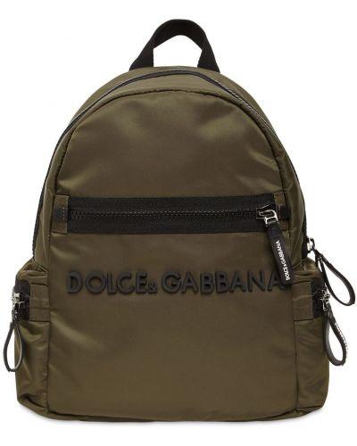 Zielony plecak z nylonu Dolce And Gabbana