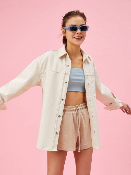 Белая джинсовая куртка Koton