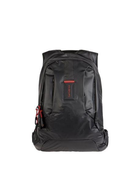 Czarny plecak na laptopa w paski Samsonite