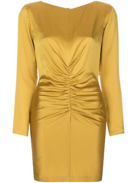 Желтое плиссированное платье мини с вырезом круглое Michelle Mason