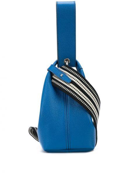 Кожаная с ремешком синяя кожаная сумка Elena Ghisellini