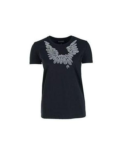 Черная хлопковая футболка Emporio Armani