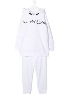 Костюмный белый спортивный костюм с капюшоном Moncler Kids