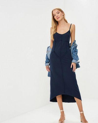 Платье платье-комбинация синее Coclo