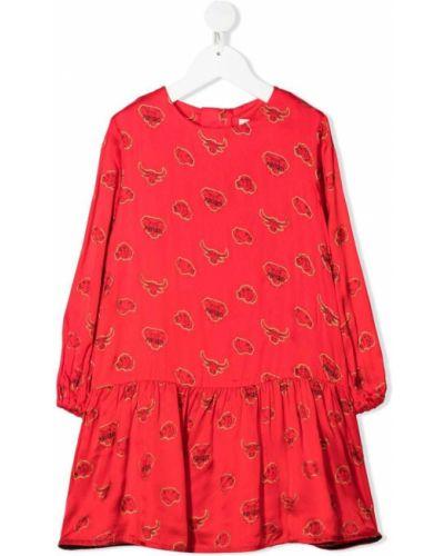 Sukienka długa sylwestrowa z długimi rękawami z wiskozy Kenzo Kids