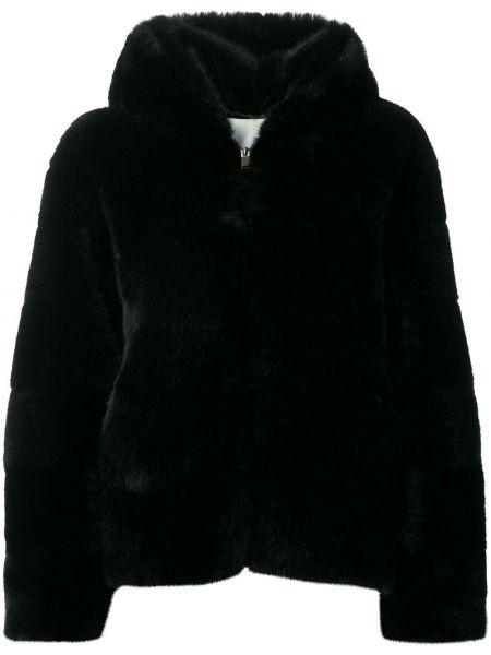 Прямая черная куртка с капюшоном на молнии из искусственного меха Ava Adore