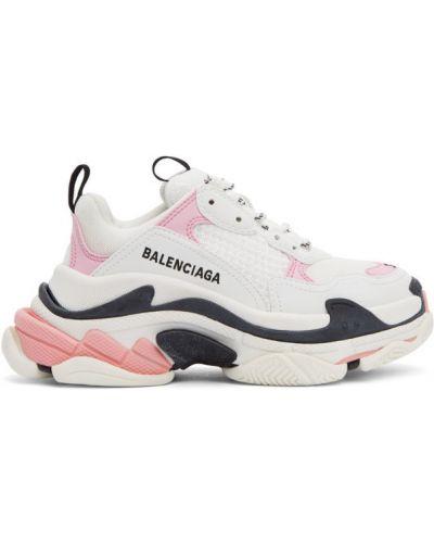 Skórzany czarny skórzane sneakersy zasznurować okrągły Balenciaga