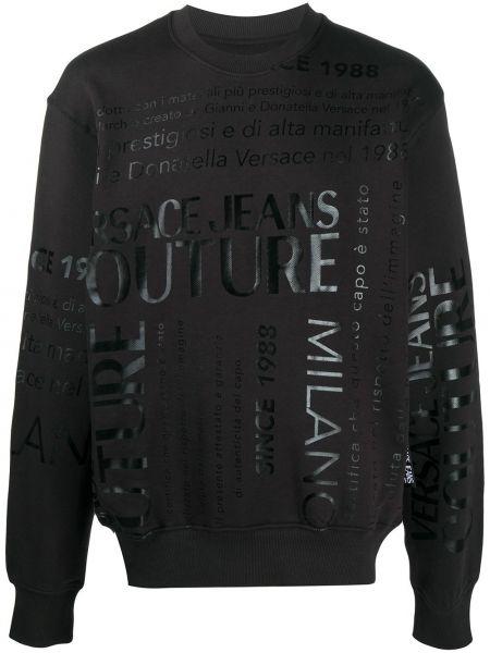 Z rękawami bawełna czarny jeansy z mankietami Versace Jeans Couture