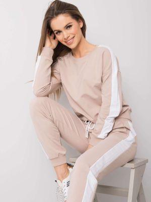 Beżowy dres bawełniany Fashionhunters