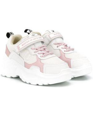 Кожаные белые кроссовки на шнуровке круглые Moa Kids