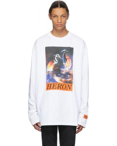 Biały bawełna koszula z mankietami z haftem Heron Preston