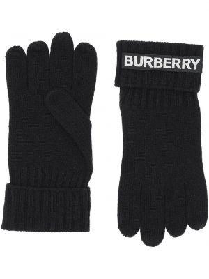Prążkowane ciepłe czarne rękawiczki Burberry