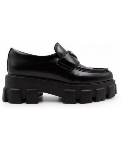 Czarne loafers Prada