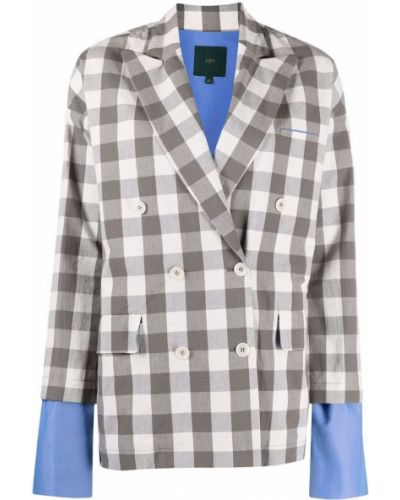 Белый удлиненный пиджак двубортный с длинными рукавами Jejia