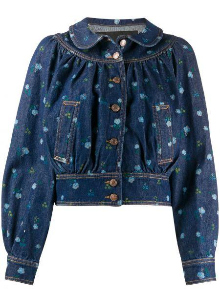 Джинсовая куртка на пуговицах с цветочным принтом Marc Jacobs