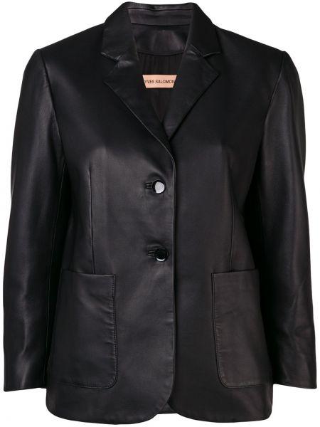Однобортный черный кожаный короткая куртка Yves Salomon
