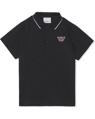 Czarna koszula krótki rękaw Burberry Kids