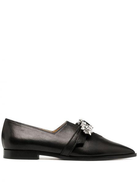 Skórzany czarny loafers z ostrym nosem Giannico
