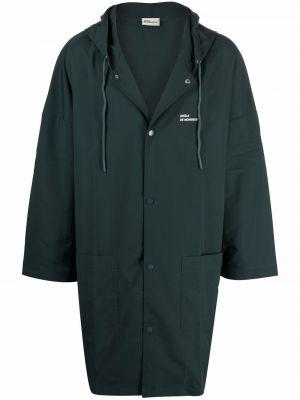 Zielony płaszcz z printem Drole De Monsieur